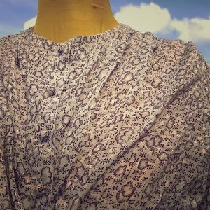 VINTAGE  button down cropped floral blouse w/ bow